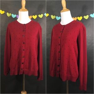 Karen Scott Red Cardigan with Black Polka dots